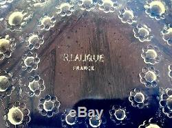 Signed René Lalique Opalescent Blue Asters plate #2 11 inch Diameter