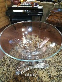 Silver Plated Centerpiece 3 Fish Stand With Clear Glass Bowl