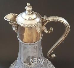 Silver plate & clear glass vintage Art Deco antique large ship's decanter