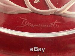 Six Hoya Lead Crystal Plates Etched Floral Design Signed, T. Yamamoto I438