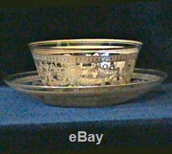 St Louis Congress Gold Encrusted Crystal Finger Bowl and Under Plate Ca. 1900
