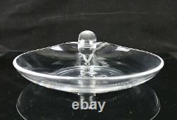 Steuben Snail Scroll Handle Crystal Clear Glass 8-7/8 Plate