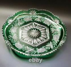 Stunning Cut To Clear Crystal 11 Emerald Green Plate- Center Piece