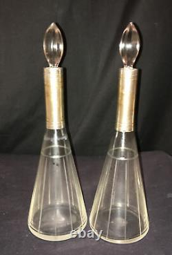 Super Pair French Art Deco Cut Glass Silver Plate Flask Decanter Perfume Bottles