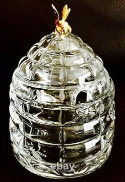 Superb Rare Heavy Crystal Beehive Honey Pot With 24ct Gold Plated Bee (5, 940g)