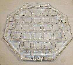 TIFFANY & Co. CRYSTAL BAMBOO WEAVE 9 BOWL & 12.5 SERVING PLATE & A TIFFANY BOX