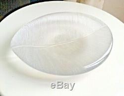 Tapio Wikkala Bowl Glass Signed Leaf Iittala Finish Crystal 50s Feather Plate