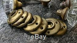 Ten 12 Point Glass brass Door Knobs 7 rosettes plates 5 see antique from 1928