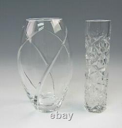 Tiffany & Co. Crystal ROCK CUT Vase, SWIRL OPTIC Vase, HONEYCOMB Torte Plate