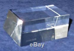 Tiffany & Co Crystal Trapezoid Name Plate, Award, Paperweight, 2 3/4 by 3 3/8