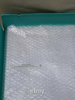 Tiffany & Co Signed Crystal Glass Wicker Platter Party Plate Server Boxed 12 in