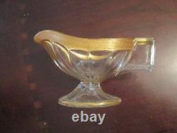 Tiffin-Franciscan Minton Pattern Clear Stem 14196 GRAVY BOAT/UNDER PLATE rare