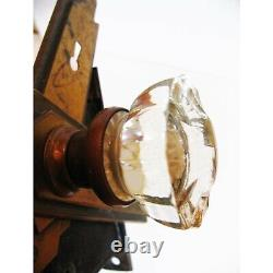 Two Antique and Pristine Clear Glass Door Knobs with Back Plates and Mortise
