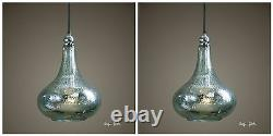 Two Norbello 14 Mercury Glass Chrome Plated Hanging Pendant Light Chandelier