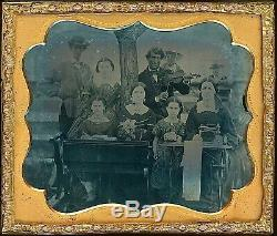Unusual Outdoor Scene Sewing Machine Fiddle 1/6 Plate Clear Glass Ambrotype A214