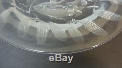 Unusual Vintage Lalique Mistletoe Crystal 8.5 Luncheon Plate