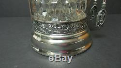 VICTORIAN PERIOD FLINT GLASS PICKLE CASTOR, CROWN SILVER PLATE STAND with TONGS