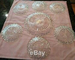 VINTAGE ANCHOR HOCKING WAFFLE/STAR CUT CRYSTAL CAKE PLATE With6 DESSERT PLATESEUC