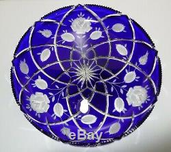 VINTAGE Ajka Crystal Coblat Blue Cut to Clear Platter / Tray / Plate 11 5/8