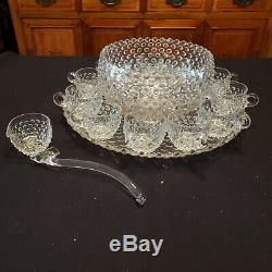 VINTAGE FENTON CLEAR HOBNAIL PUNCH BOWL With PLATE & 11 CUPS RARE