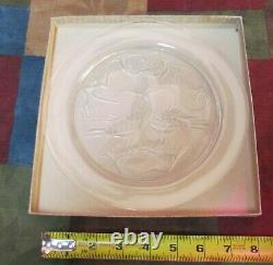 VINTAGE LALIQUE CRYSTAL ANNUAL 9 PLATE-1965-TWO BIRDS-1st YEAR-SIGNED-MINT