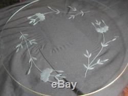 VTG ATQ PRINCESS HOUSE Etched Glass Cake Plate & Covered Dome 12 1/4 x 8 1/2