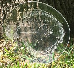 VTG Antique ART GLASS FISH PLATE Platter Clear European Salmon Serving 13 NICE