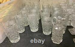VTG Wexford Anchor Hocking Crystal 50 Piece Glassware Set Goblet Cup Plate Candy