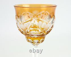 Val St. Lambert Orange Cut to Clear Wine Hock, Vintage Glass, Wafer Stem 6oz 8