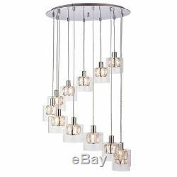 Verina 12 Light Ceiling Pendant Light 28W Chrome Plate And Glass Shade