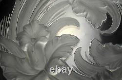 Verlys Plate Frosted Glass Orchid Flower French Decor Bowl Made in France Signed