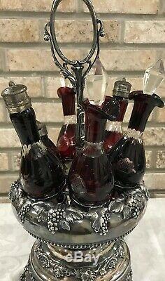 Victorian Castor Set Grape Silver Plate 6 Ruby Red Cut To Clear Glass Cruet Set