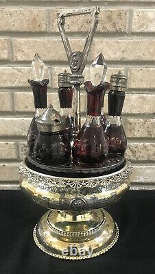 Victorian Castor Set Silver Plate 6 Ruby Red Cut To Clear Glass Cruet Set