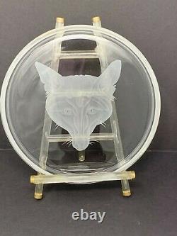 Vint. Fox Hunt Equestrian Fox Head Engrave Clear 7 ¾ Round Crystal Plate Tray