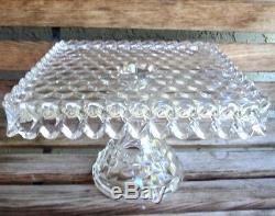 Vintage American Fostoria Crystal Pedestal 10 1/4 Square Cake Plate