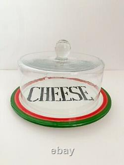 Vintage Blown Glass Cheese Dome Cover + Plate Joseph Magnin Italy 19th century