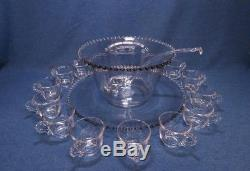 Vintage Candlewick Glass Punch Bowl Set WithLadle, Under Plate & 12 Cups Exc