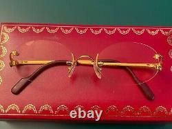 Vintage Cartier 24K Gold Plated Frame Trinity Glasses Rimless (Complete in box)