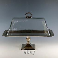 Vintage Clear Glass Cake Plate with Heavy Dome Cover on Pedestal Base/Stand
