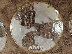 Vintage Clear Glass Gold Rimmed Round 7.25 Charger Salad Plates Set of 16