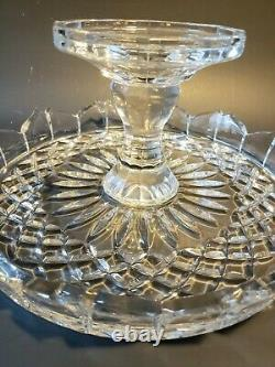 Vintage Clear Glass Pedestal Skirt Base Stand Cake Plate With Heavy Dome Cover