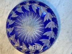 Vintage Cobalt Blue Cut To Clear Cut Glass Low Bowl Plate Low USA Shipping