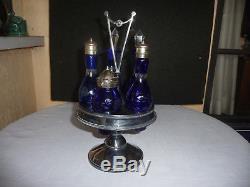 Vintage Cobalt Blue Cut To Clear Silver Plate Castor Condiment Set