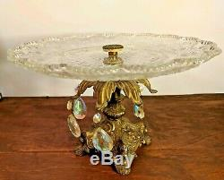 Vintage Cornell Glass and Metal Cake Stand Cookie Pastry Candy Plate 10 Antique