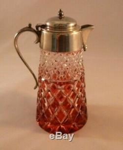 Vintage Cranberry Cut-to-Clear Cut Glass Syrup, Silver Plate Lid Antique