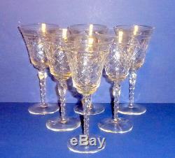 Vintage Cut Crystal / Clear Glass 6 Champagne & 7 Plates Formal Dessert Set