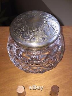 Vintage Cut Glass Bowl, Etched Design Silver Plate Lid Dresser or Tobacco Jar