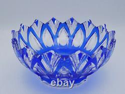 Vintage Czech Bohemian Cobalt Blue Cut To Clear Crystal Bowl & Plate