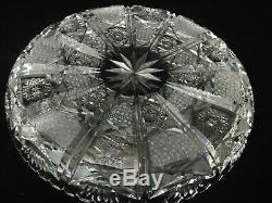 Vintage Czech Bohemian Hand Cut Crystal Plate Dish Bowl, 11 Dia x 1 1/2 High