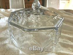 Vintage Czech Hand Cut Glass Heavy Pedestal Cake Plate with Dome Lid